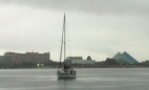 Rainy day, Sunday December 16, 2012.  Moody Gardens pyramids  in the background. Taken by Tracy Boyd